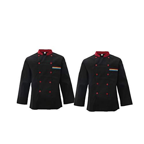 2 Pezzi Giacce Cappotto Abbigliamenti Artigianato di Chef Cuoco Unisex Manica Lunga