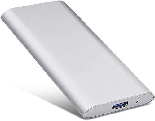 Disco rigido esterno portatile ultra sottile da 2 TB – Hard disk esterno USB 3.1 per Mac, computer portatile, PC (2TB, Silver-B)