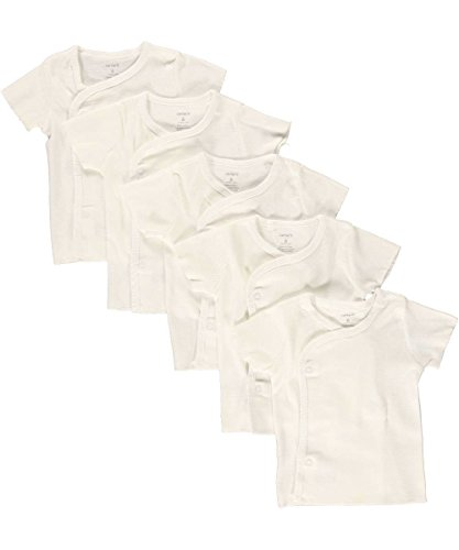 Carters Unisex Baby 5-Pack Short Sleeve Side Snap Tee, White, 9M