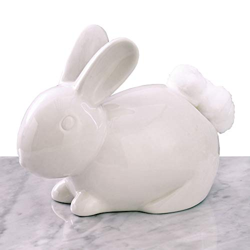 Bits and Pieces - Ceramic Bathroom Bunny Cotton Ball Holder - Cotton Tail White Rabbit Ceramic Cotton Ball Dispenser - Bathroom Novelty and Décor
