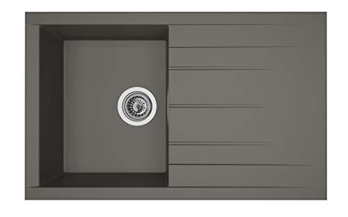 respekta HOUSTON80X50G, 60% Verbundmaterial aus Mineralstoffen und Glasfasern, 40% Kunstharz, Grau, 80 cm