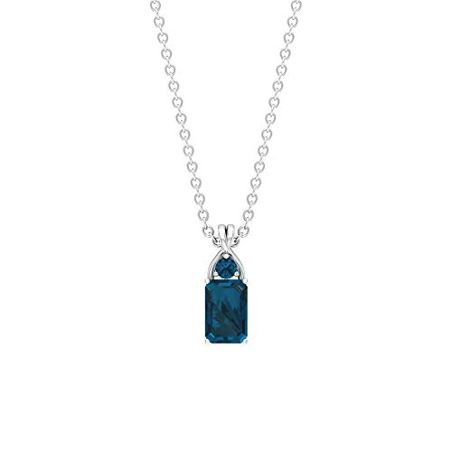 Dainty Wedding Necklace, 4 CT Blue Topaz London Pendant, Solitaire Gemstone Necklace, Octagon Shape Topaz Pendant, December Birthstone Jewelry, 10K White Gold With Chain