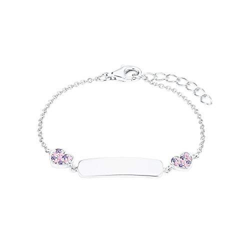 Prinzessin Lillifee Mädchen-Armband Identarmband Herzen 12+2cm 925 Sterling Silber Kristalle rosa lila inkl. Wunschgravur