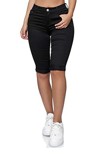Elara Damen 3/4 Jeans Push Up Capri Chunkyrayan HB2581 Black-38 (M)