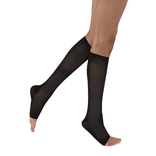 JOBST Opaque Knee High 20-30 mmHg Compression Stockings, Open Toe, Large Full Calf, Classic Black
