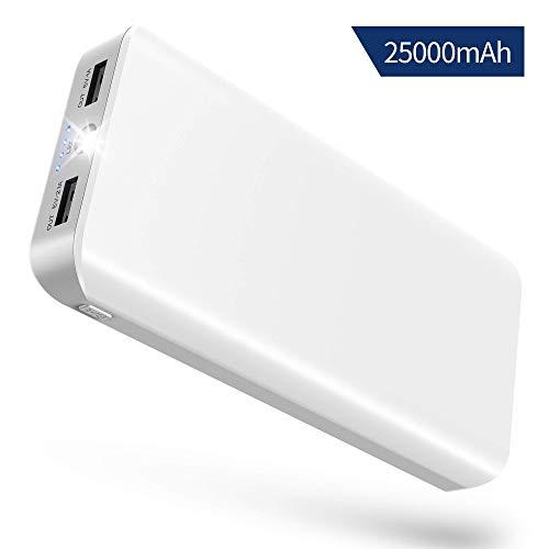 Power Bank 25000mah Caricabatterie Portatile Quick Charge Batteria Portatile Cellulare con 2 Porta USB (5V 2,1A/1A) Ingresso 2a ,LED Torcia Elettrica, per cellulare,altoparlante,altri dispositivi USB