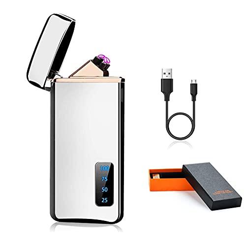 Yuragim Mechero Electrico Mechero electrónico USB Mechero de Plasma Mechero doble arco Mechero Recargable Resistente con indicador de batería y caja de regalo, Regalo para hombres y mujeres Cumpleaños