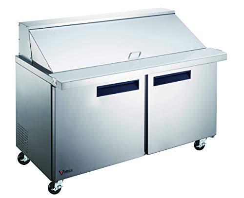 Vortex Refrigeration Commercial 48' 2 Door Mega Top Sandwich Prep Table - 18 Pans - 12 Cu. Ft.