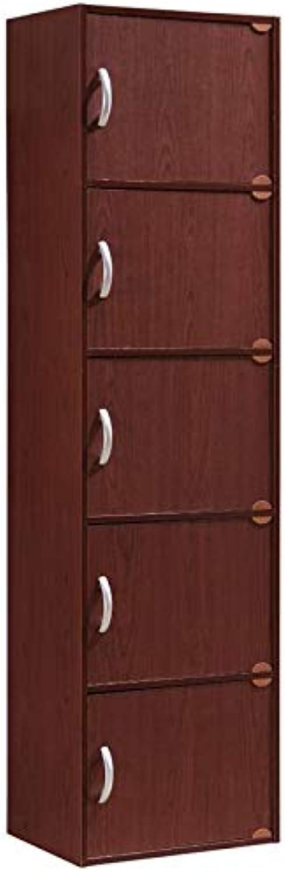 Pemberly Row 5 Shelf 5 Door Bookcase in Mahogany