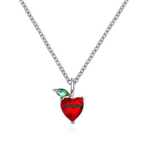Halskette Silber Kristall Rot Apfel Herz
