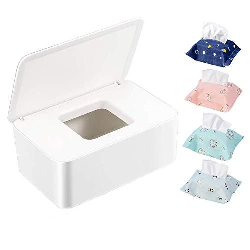 Mengger 5Pcs Caja Para Toallitas Húmedas Bebe Dispensador De Toallitas portatil con Tapa Soporte Tela Funda Pañal Deber Organizador Hogar Oficina Uso