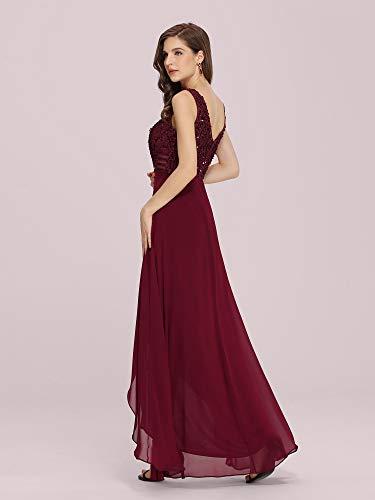 Ever-Pretty Vestidos Invitada Boda Alta Baja Talla Grande Elegant Chiffón Sin Mangas con Lentejuelas Mujer Burdeos 48