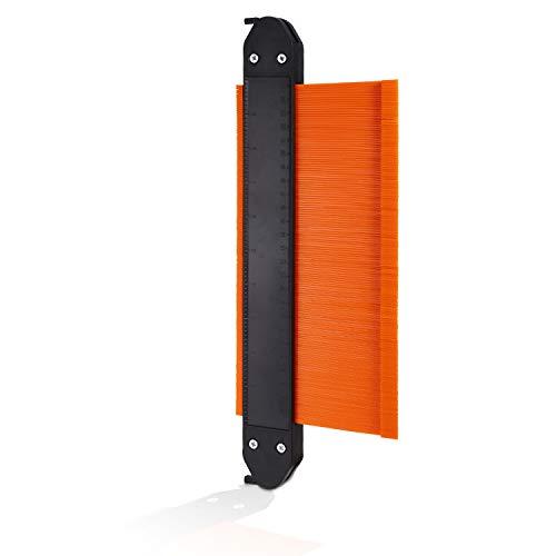 AthlChamp Duplicadora de calibre de contorno con cerraduras dobles, herramienta de duplicación de perfil de 10 pulgadas, regla de medición de contorno de forma para pisos de carpintería