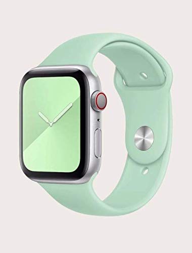 Correa deportiva compatible con Apple Watch Band 44 mm 42 mm, correa de silicona suave de repuesto para iWatch Series 6/SE/5/4/3, Beryl, grande