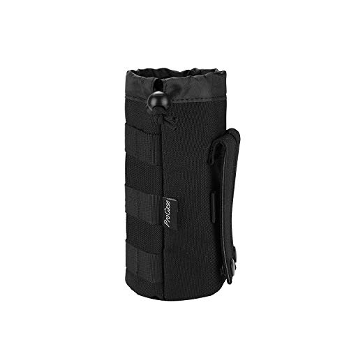 ProCase Water Bottle Pouch, Tactical Military Molle Bottle Holder with Top Drawstring Mesh Bottom, Portable Water Container Pouch Bag Hydration Carrier for Camping Hiking Hunting Traveling –Black