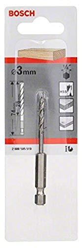 Bosch 2608595519 Hex Shank Wood Drill Bit, 3mm x 33mm x 74mm, Silver