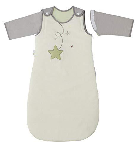 P 'tit Basile - Saco de dormir de invierno para bebé niño, 6-24 meses - 90 cm - con mangas largas extraibles removibles desmontables, algodón orgánico, TOG 2,5 Pluie d'étoiles