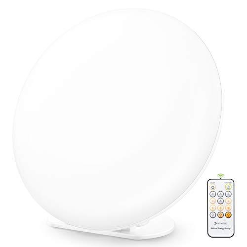 Tageslichtlampe 10000 lux, Fernbedienung 4 Timer Lampe mit Memoryfunktion, 3 Lichtfarben Lichtintensität einstellbar, LED Sonnenlicht, flimmer-, UV-frei