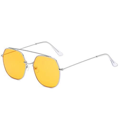 Classic Vintage Sunglasses Men Square Metal Frame Sunglasses Pilot Retro Sun Glasses Women Double BeamsUV400-silver orange