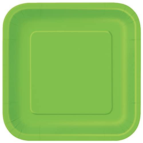 Unique Party- Platos Cuadrados de Papel Ecológicos-18 cm Verde Lima-Paquete de 16, Color lime green (31421EU)