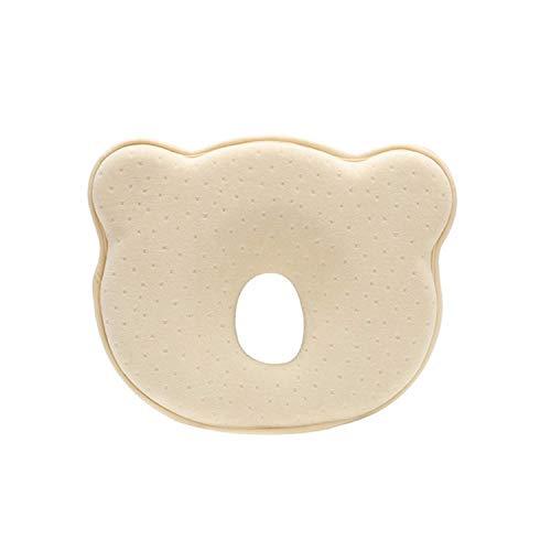 Muitar Almohada de bebé 3D de espuma viscoelástica para cabeza y cuello, almohada de forma de cabeza de bebé recién nacido, evita la cabeza plana para 0 – 12 meses, color amarillo