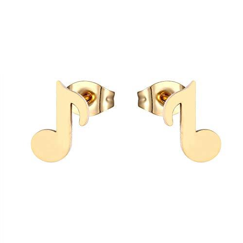 Pendientes Notas Musicales de Diseño Dorados y Plateados con cierre de Mariposa para Niñas y Mujeres - Regalos originales en elegante caja de Joyería (dorado)
