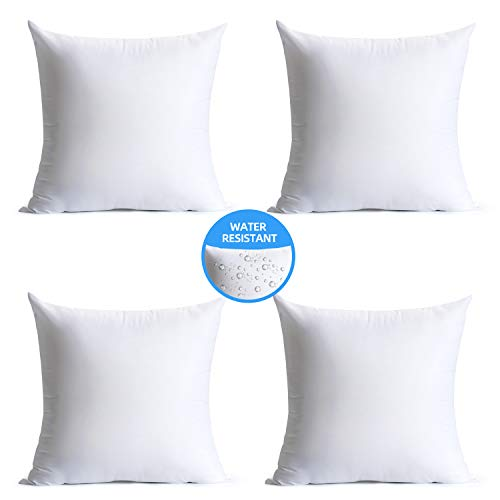 Calibrate Timing 18 x 18 Pillow Inserts Outdoor, Water Resistant Hypoallergenic Square Decorative Throw Pillow Cushion Stuffer Forms Couch Sham - 18 x 18 inches Pack of 4