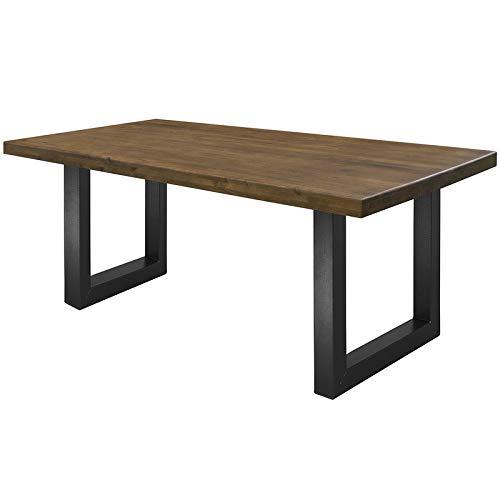 COMIFORT Mesa de Comedor - Mueble para Salon Oficina Despacho Robusto y Moderno de Roble Macizo Color Nogal, Patas de Acero U-Forma Grafito (140x75 cm)