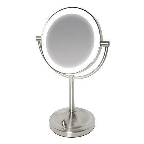 Miroir à double face HoMedics Beauty Spa avec DEL gradable - Aide parfaite à la coiffeuse salle de bain, éclairage application maquillage + coiffage, grossissement normal / 7x, sans faille tout angle