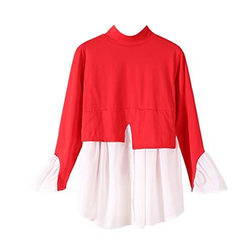 Dasongff Damesblouse met contrast, patchwork, hemd, rolkraag, ruche, trompetmouwen, tuniek, tops, elegant en stijlvol shirt met lange mouwen, trui, crop top, onregelmatige hem bovenstuk, fake, tweedelig X-Large rood
