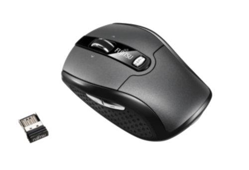 Fujitsu WI610 ratone RF inalámbrico Laser 2000 dpi Ambidextro Negro - Ratón (Ambidextro, Laser, RF inalámbrico, 2000 dpi, 60 g, Negro)