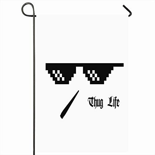 Outdoor Garden Flags 12,5 'x 18' Zoll 8 Sun Pixel Brille Thug Life Brille Meme Cannabis Gangster 8Bit Gefahr Piktogramm Hüfte Vertikale Doppelseitige Home Dekorative Haus Hof Zeichen