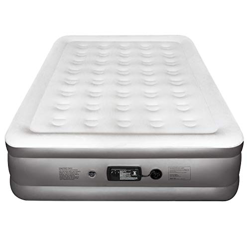 Etekcity Air Mattress with Built-in Pump, Inflatable Airbed Blow Up Air Bed Double Raised Mattress for Camping, Guest, Hiking, Storage Bag, White (Queen 18)