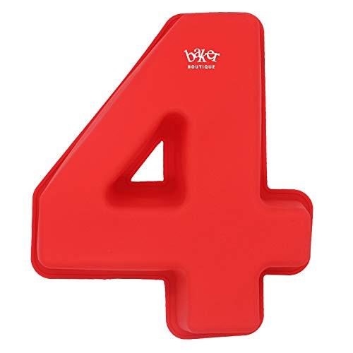 Baker Boutique Molde de silicona 3D para tartas con número 4, para cumpleaños y aniversario de boda, tamaño grande de 25,4 cm (4)