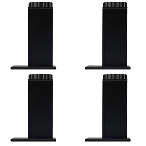 4 Pies de muebles Patas de Mesa Patas para Mesa de Centro Pies para Armario de Cocina Pies para Sofá pies Cuadrados-Aleación de Aluminio-Altura ajustable,Con Tornillos de Montaje (15cm,Negro mate)