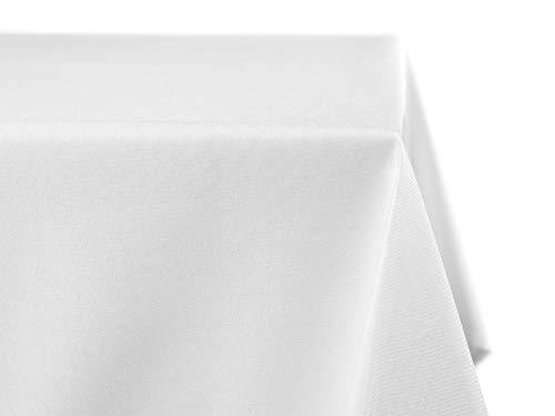 BEAUTEX fleckenabweisende und bügelfreie Tischdecke - Tischtuch mit Lotuseffekt - Tischwäsche in Leinenoptik - Größe und Farbe wählbar, Eckig 130x260 cm, Weiss