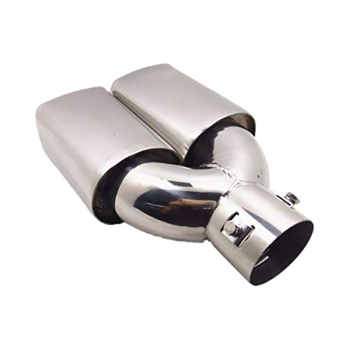 "2.5"" Inlet Car Exhaust Tip Muffler Pipe Dual Square Tail Pipe Stainless Clamp On Installation Chrome Polished Finished Split Square Tip"