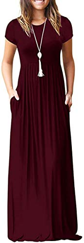 Women's Short Sleeve Casual Loose Pocket Maxi Party Long Dresses Wine Red Large