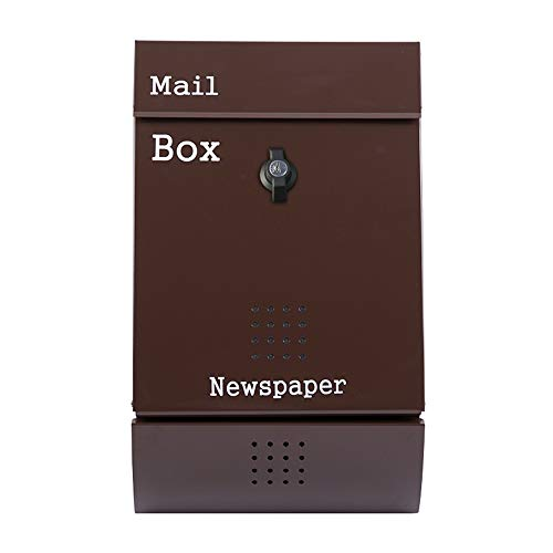 AOWU Classic Wall Mounted Letterbox Home Mailbbox For Stamps Newspapers Outdoor Wall-mounted Letter Box Home Office Safe Outdoor (Color : As Shown, Size : 26x32x8.5cm)
