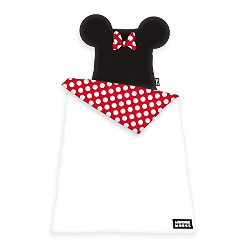 Herding Disney Minnie Mouse Set di Biancheria da Letto, Cotton, Bianco, 135 x 200 cm, 80 x 80 cm