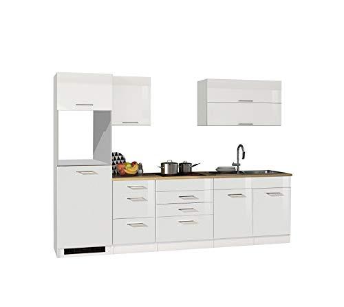 lifestyle4living Küche ohne Elektrogeräte 290cm | Küchenzeile Küchenblock Einbauküche | Hochglanz Weiß/Eiche Sonoma