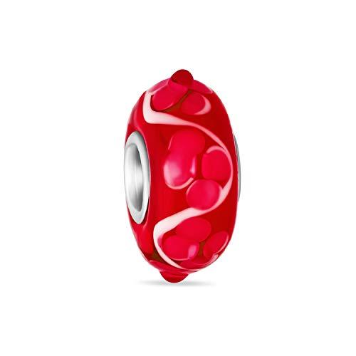 Murano Glass .925 Sterling Silver Core 3D Lampwork Floral rojo y blanco Hibiscus flor espaciador encanto cuenta se adapta a la pulsera europea para las mujeres adolescentes