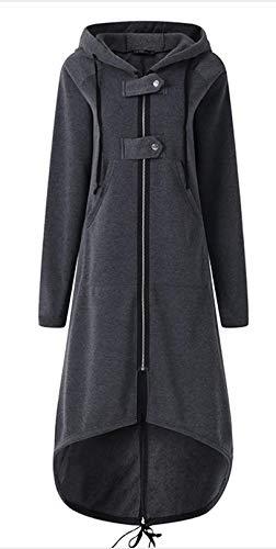 Jskdzfy Chaquetas de mujer con botón y cremallera fina con capucha para mujer, abrigo largo, ajuste delgado, tamaño grande, bolsillo de color puro para mujer, abrigos para mujer (color: A, tamaño: XL)