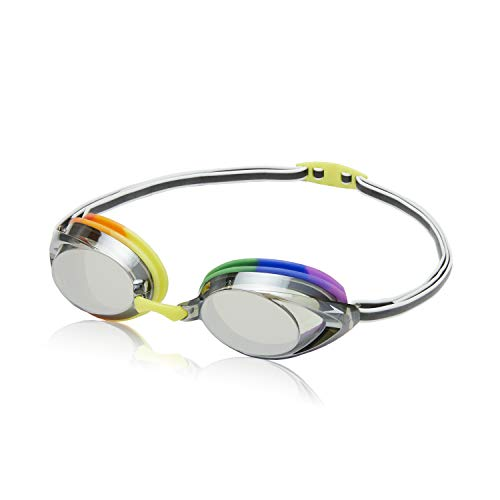 Speedo Unisex-Erwachsene Schwimmbrille, verspiegelt, Vanquisher 2.0, Regenbogen/Grau, Größe M