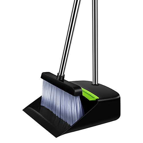 Broom and Dustpan,Dustpan and Broom Set,Long Handle Broom Set Can be Used in Home Kitchen Room Office Lobby Broom Combo