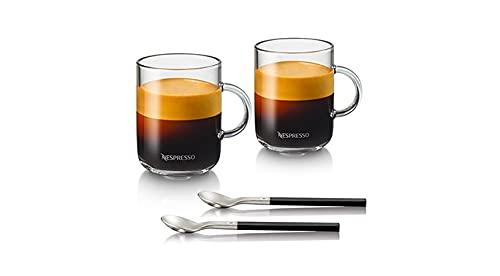 Nespresso Vertuo - Juego de tazas de café (2 unidades de 390 ml, incluye 2 cucharas de cristal)