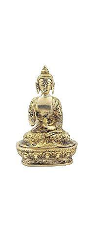Brass Buddha Statue Gautam Buddha Idol Sculpture,Worship Indoor Home Room Office Meditation Decor Gift Yoga Tibetan Buddhism Amitabha Figurine Size -7 inch