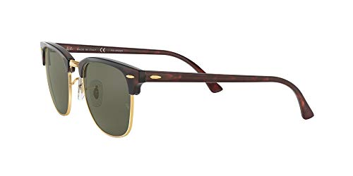 Ray-Ban RB3016 Clubmaster Square Sunglasses, Red Havana/Polarized Green, 51 mm