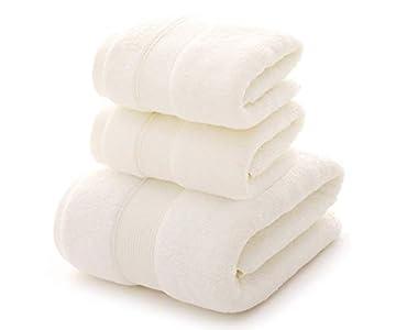 HongLanAo Algodón Toallas Set 3 Piezas Suave y Grueso Altamente Absorbente Toalla de Baño 1 * 650g / 30 * 57 Pulgadas, Toalla 2 * 170g / 14 * 30 Pulgadas (Blanco-Bolsa de Regalo)