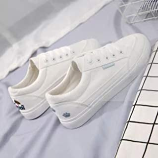 [JIRUTO] レディース カジュアル スニーカー キャンバス ホワイト シングルシューズ